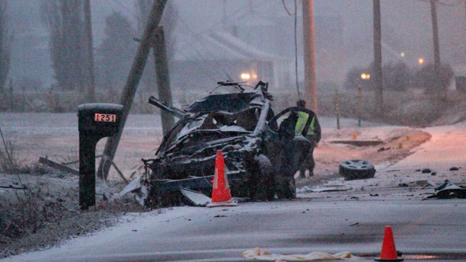 A photo of the crash that killed Samuel Poupart and Catherine Leclerc (Patrick Duchesneau, Châteauguay Express.ca)