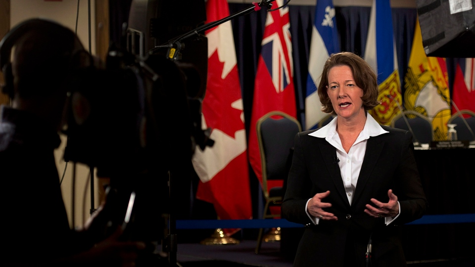 Alberta Premier Alison Redford is interviewed as the premiers gather for an economic summit in Halifax on November 22, 2012. (Andrew Vaughan / THE CANADIAN PRESS)