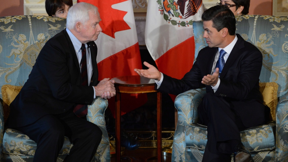 Governor General David Johnston meets with President-elect of Mexico Enrique Pena Nieto at Rideau Hall in Ottawa on Wednesday November 28, 2012. (Sean Kilpatrick / THE CANADIAN PRESS)