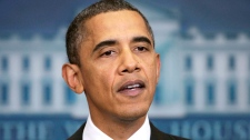 President Barack Obama makes a statement on today's initial public stock offering of General Motors in the press briefing room at the White House in Washington, Thursday, Nov. 18, 2010. (AP / J. Scott Applewhite)
