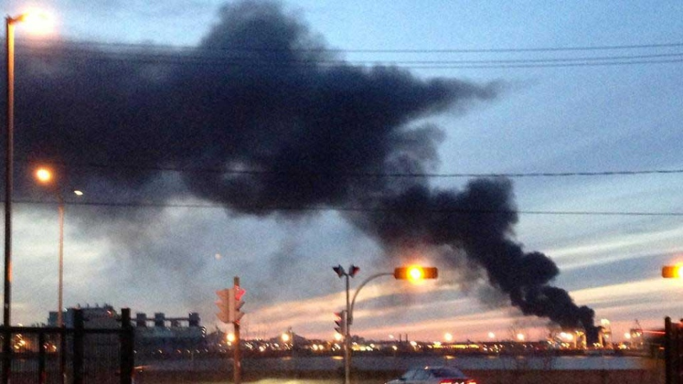 A photo of the fire in the east end. (Provided by @Chrissy)