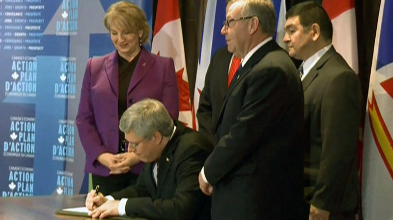 Prime Minister Stephen Harper signed a loan agreement supporting the Muskrat Falls project on Friday, Nov. 30, 2012.