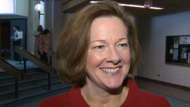 Premier Alison Redford spoke to the media at Mount Royal University on Friday, November 30, 2012.