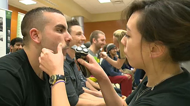 A group of about 100 Medicine and Dentistry students at the U of A had their moustaches shaved Friday, as Movember came to a close.