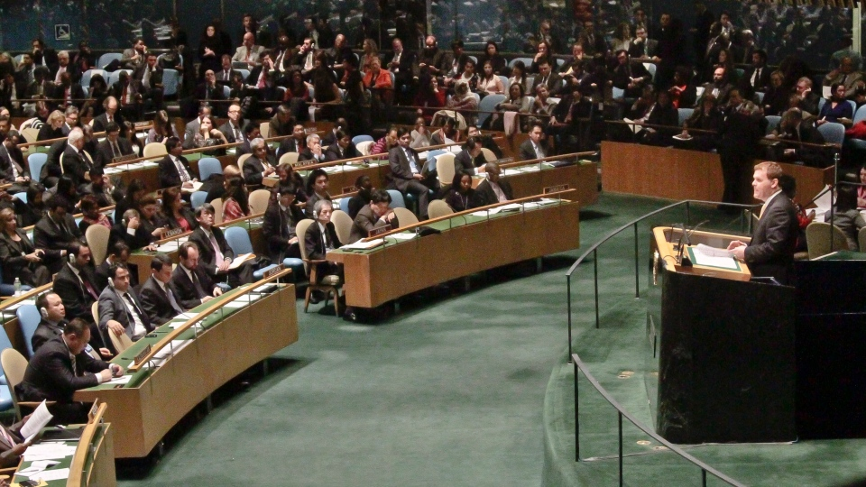 John Baird, Foreign Affairs minister for Canada, address the U.N. General Assembly where Palestine received recognition as a state on Thursday, Nov. 29, 2012 in New York. (AP / Bebeto Matthews)