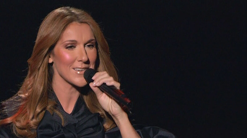 Celine Dion is seen on stage singing at one of her shows in Las Vegas.