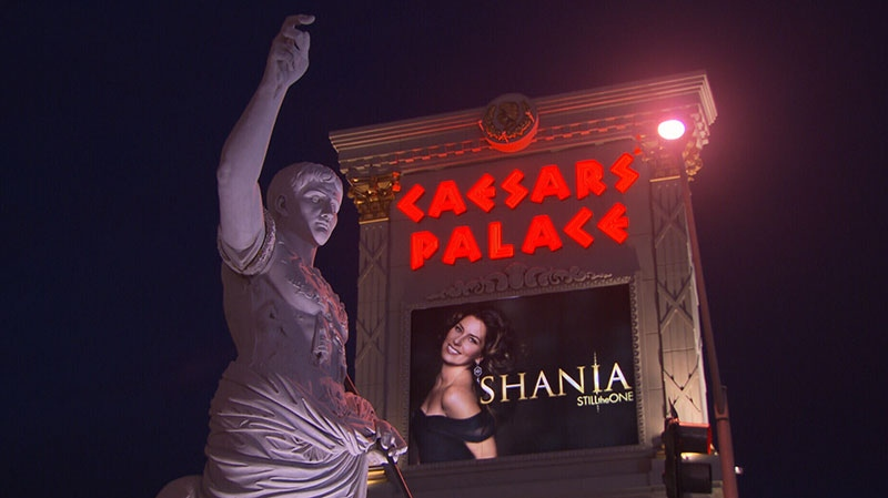 A Caesars' Palace sign promoting Shania Twain's new show 'Still the One' is seen in Las Vegas.