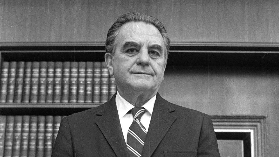 U.S. District Court Judge John Sirica stands in his office in Washington,  Jan. 31, 1973. (AP)