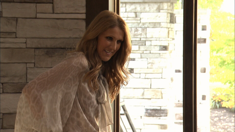 Celine Dion is seen on set filming a video for her new French album in Quebec.