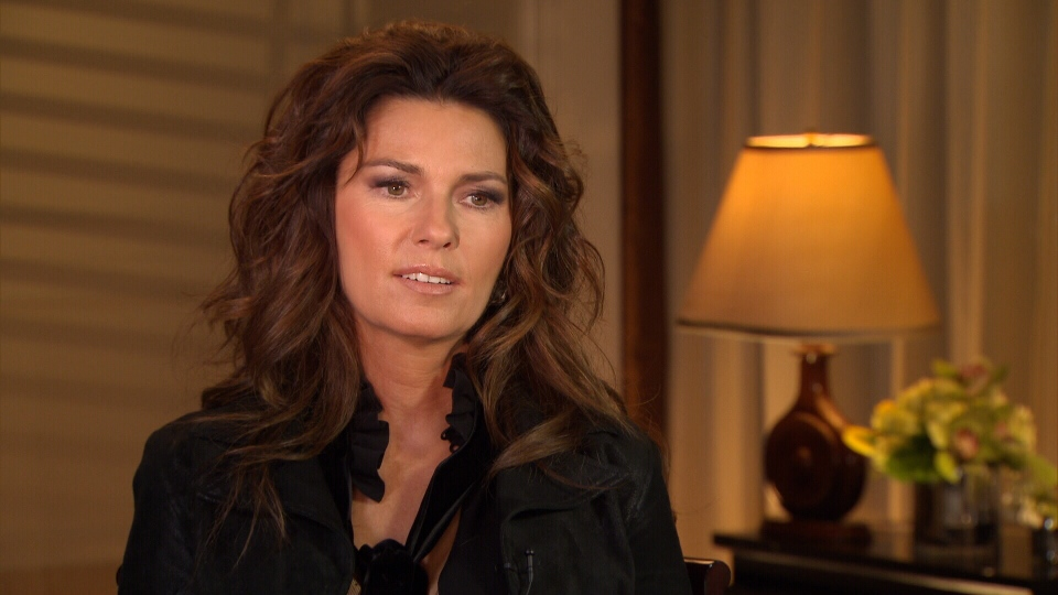 Shania Twain is shown in this image as she speaks to Beverly Thomson.