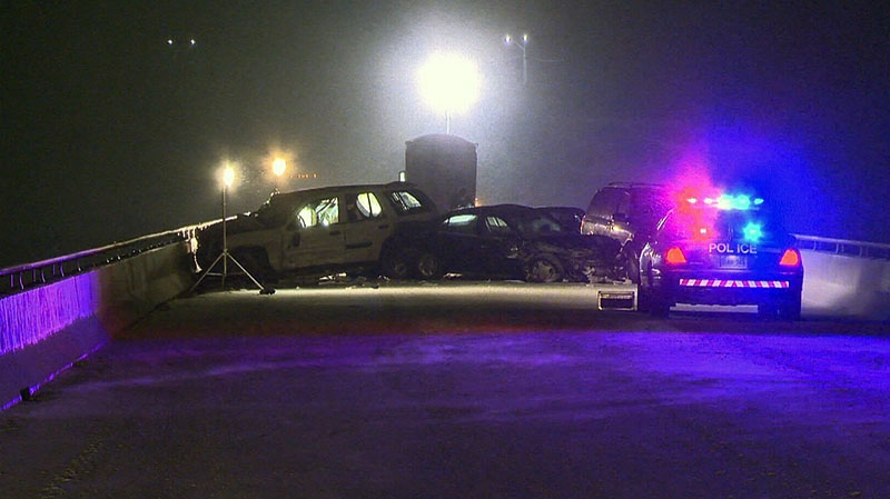 A woman and her young child were killed in a six-car collision in Caledonia, Ont., Friday, Nov. 30, 2012.