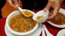 A bowl of shark fin soup being served at a Chinese restaurant. The controversial dish has been pushed into the limelight after Green Party Leader Elizabeth May has called for a ban in B.C. (AP/Paul Sakuma) Aug. 29, 2011