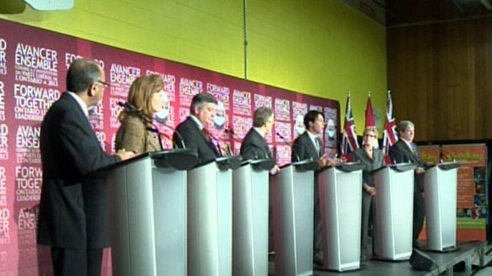 All seven Ontario Liberal leadership candidates are seen at their podiums at the first debate on Saturday, Dec. 1, 2012.