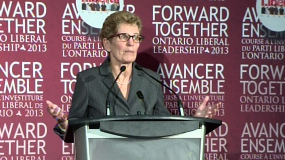 Ontario Liberal leadership candidate Kathleen Wynne speaks at the first debate on Saturday, Dec. 1, 2012.