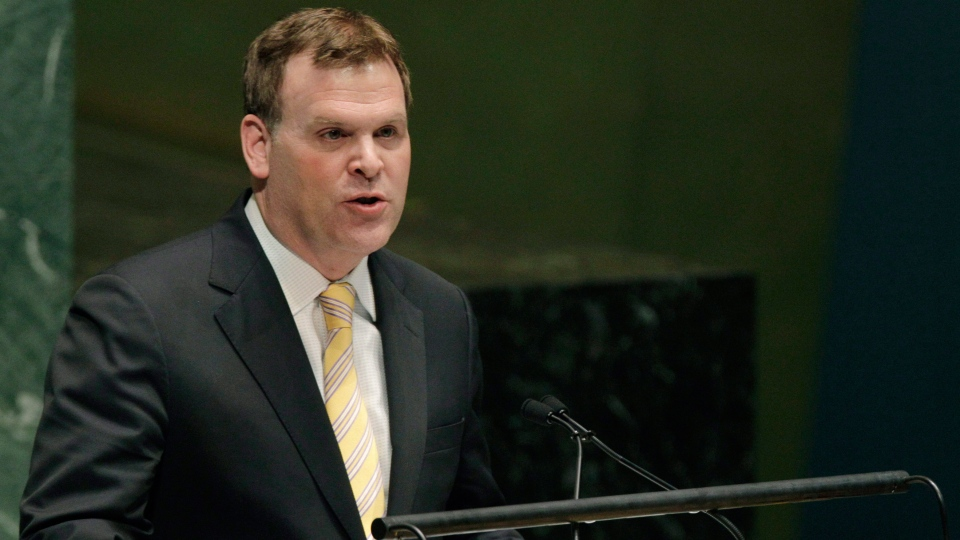 Canadian Foreign Minister John Baird speaks in opposition during a meeting of the United Nations General Assembly prior to a vote on a resolution on the issue of upgrading the Palestinian Authority's status to non-member observer state in the United Nations in New York, Thursday, Nov. 29, 2012. (AP / Kathy Willens)
