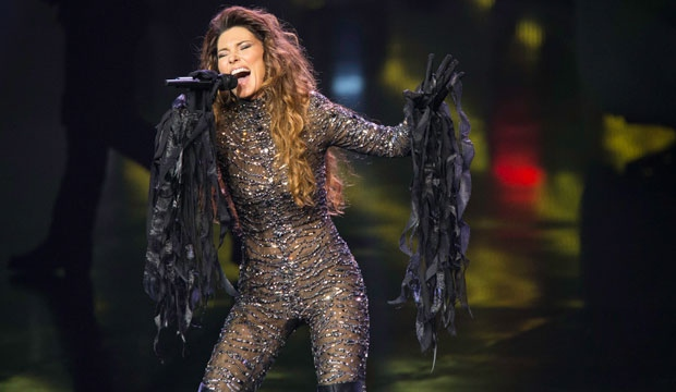 Shania Twain performs onstage at The Colosseum at Caesars Palace on Saturday, Dec. 1, 2012, in Las Vegas. The show kicks off a two-year residency at Caesars. (Eric Jamison / Invision)