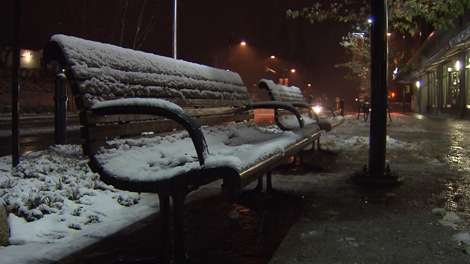 Cold Monday morning, light blanket of snow
