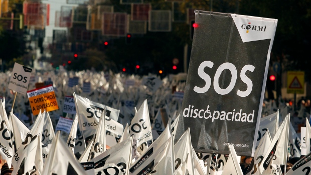 Anti-austerity protesters in Spain