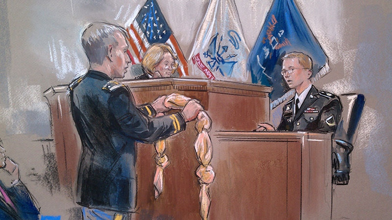This artist rendering shows Army Pfc. Bradley Manning, right, being shown a bedsheet as he testified in his pretrial Wikileaks hearing in Fort Meade, Md., Friday, Nov. 30, 2012. (AP / William Hennessy)