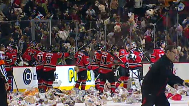 A layer of Teddy bears cover the ice at the Scotiabank Saddledome