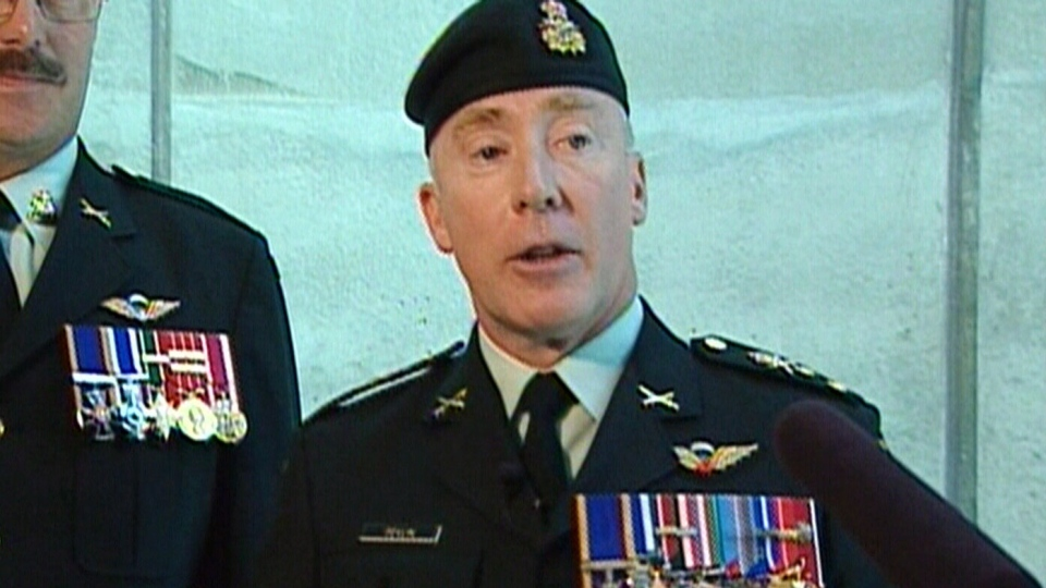 Outgoing head of Canada's Army Lt. General Peter Devlin speaks to the media in this file photo.