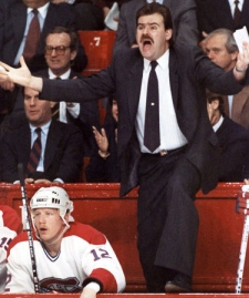 Montreal Canadians coach Pat Burns reacts to a referee's call during a NHL game in Montreal in this Jan. 30, 1989 photo. (Shaney Komulainen / THE CANADIAN PRESS)