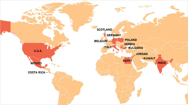 This map shows countries that either offer the treatment, are performing clinical trials or have funded research into the Liberation Treatment since W5's investigation by medical correspondent Avis Favaro and medical producer Elizabeth St. Philip went to air on Nov. 21, 2009.