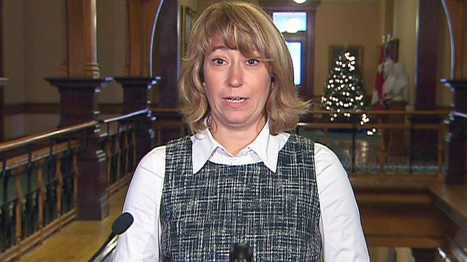 Ontario Education Minister Laurel Broten addresses a news conference in Toronto, Monday, Dec. 3, 2012.