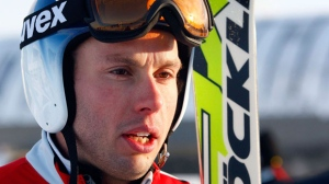 Canadian ski cross team member David Duncan, of London, Ont., speaks to the media after the team unveiled a special tribute to teammate Nik Zoricic, who died after crashing at a World Cup in 2011, at Canada Olympic Park in Calgary, Alta., on Monday, Dec. 3, 2012. (The Canadian Press/Jeff McIntosh)
