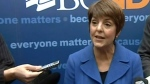 British Columbia NDP leader Carole James is seen speaking with the media in this undated photo.