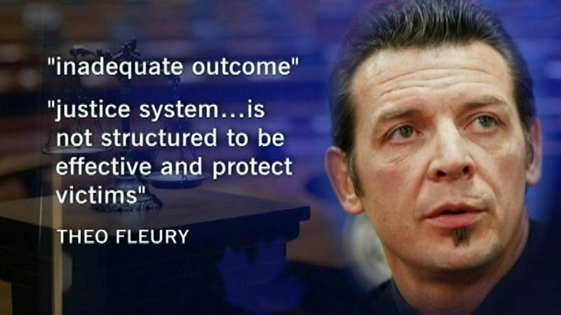 In a message on his personal website, NHL star Theo Fleury called Graham James' sentence an 'inadequate outcome.'
