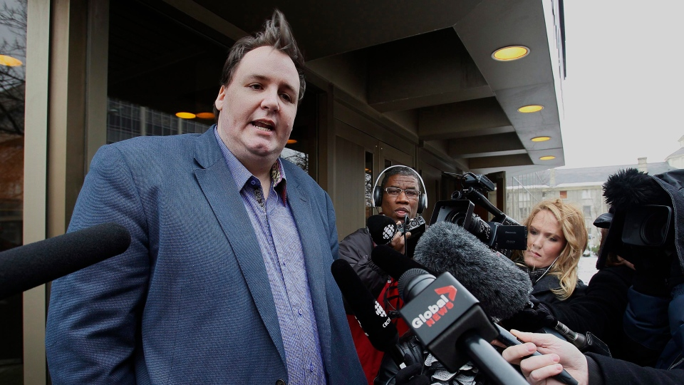 Greg Gilhooly, who was allegedly sexually assaulted by hockey coach Graham James, speaks to media outside the provincial court in Winnipeg, Monday, Dec. 3, 2012. (John Woods / THE CANADIAN PRESS)