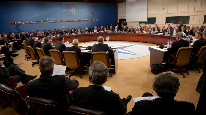 NATO foreign ministers approved Turkey's request for Patriot anti-missile systems to bolster its defense against possible strikes from neighboring Syria from the NATO headquarters in Brussels, Tuesday, Dec. 4, 2012. (AP / Virginia Mayo)