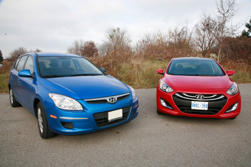 The 2011 Hyundai Elantra Touring sits beside the all new 2013 Elantra GT (Bill Wang/CTVnews.ca)