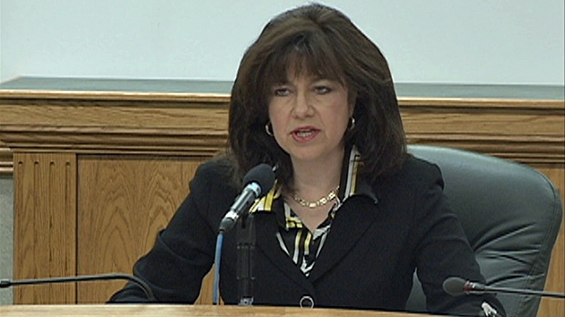 Auditor Bonnie Lysyk speaks at a news conference in Regina in this undated file photo.