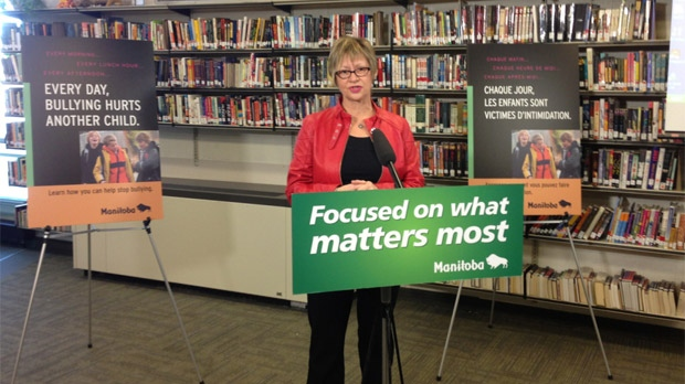 Manitoba Education Minister Nancy Allan speaks about the anti-bullying strategy on Dec. 4, 2012 in Winnipeg.