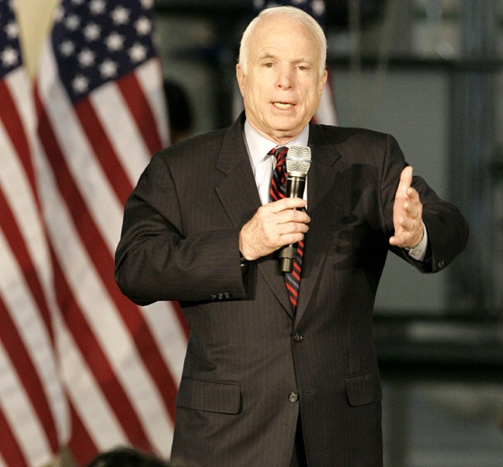 Republican presidential hopeful, Sen. John McCain, R-Ariz., speaks during a town hall meeting at Texas Instruments in Richardson, Texas, Thursday, Feb. 28, 2008. (AP / Tony Gutierrez)