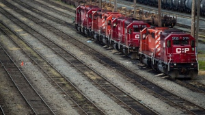Canadian Pacific Rail locomotives sit idle at the company's Port Coquitlam yard east of Vancouver on May 23, 2012. (The Canadian Press/Darryl Dyck)
