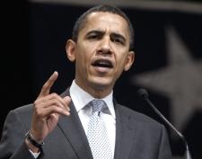 Democratic presidential hopeful Sen. Barack Obama, D-Ill., speaks at a campaign stop Thursday, Feb. 28, 2008, in Beaumont, Texas. (AP / Rick Bowmer)