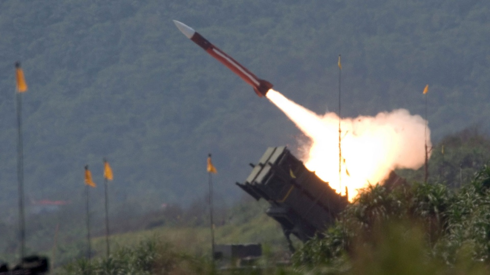 A U.S.-made Patriot missile is launched during an exercises in Ilan County, Taipei, Taiwan, on July 20, 2006. (AP)