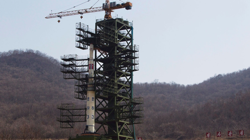 North Korea's Unha-3 rocket stands at Sohae Satellite Station in Tongchang-ri, North Korea, April 8, 2012. (AP / David Guttenfelder)