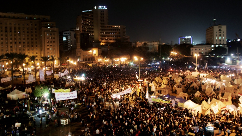 Protesters gather in Tahrir Square in Cairo, Egypt, Tuesday, Dec. 4, 2012. (AP / Maya Alleruzzo)