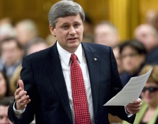 Prime Minister Stephen Harper responds to  questions during question period in the House of Commons in Ottawa, Thursday, Feb. 28, 2008. (Tom Hanson / THE CANADIAN PRESS)