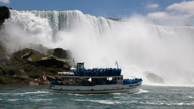 Maid of the Mist at base of the American Falls