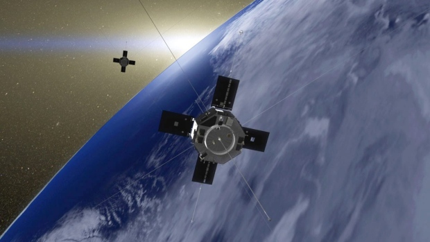 Rendering of the Van Allen Probes in orbit.