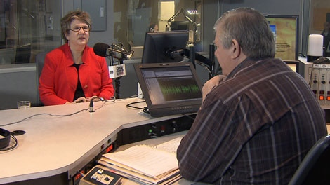 Moira Stilwell announcy her candidacy for leader of the BC Liberals on CKNW radio's The Bill Good Show. Nov. 22, 2010. (CTV)