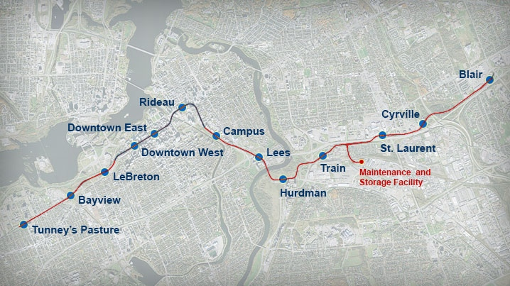 The route of Ottawa's LRT Confederation Line.