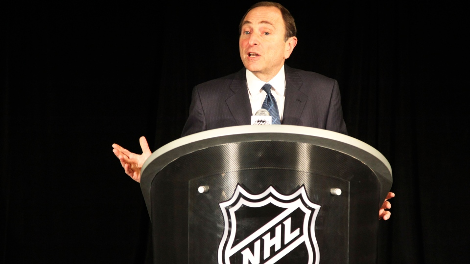 NHL commissioner Gary Bettman speaks to reporters after an NHL Board of Governors meeting, Wednesday, Dec. 5, 2012 in New York. (AP / Mary Altaffer)