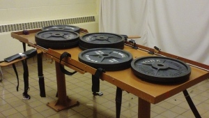 540 pounds of weights test the load bearing of the execution table at the Southern Ohio Correctional Facility in Lucasville, Ohio. (AP / Ohio Dept. of Rehabilitation and Corrections)