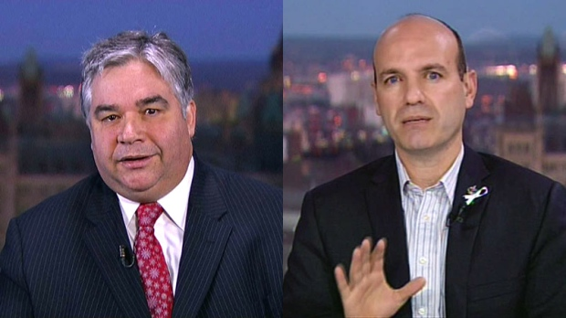 Government House Leader Peter Van Loan and NDP House leader Nathan Cullen, appear on Canada AM from CTV studios in Ottawa, Thursday, Dec. 6, 2012. Van Loan and Cullen were interviewed separately but combined in this photo.